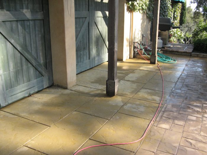 line of stamped concrete and stonework in santa barbara